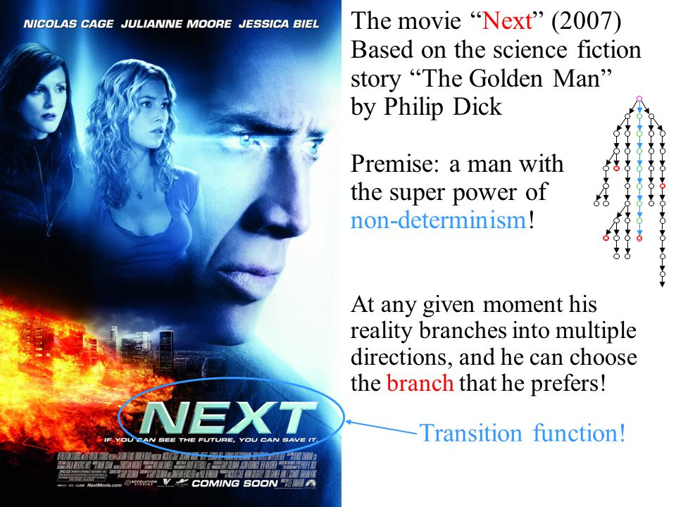 "The movie ""Next"" (2007) Based on the science fiction story ""The Golden Man"" by Philip Dick Premise: a man with the super power of non-determinism! At"