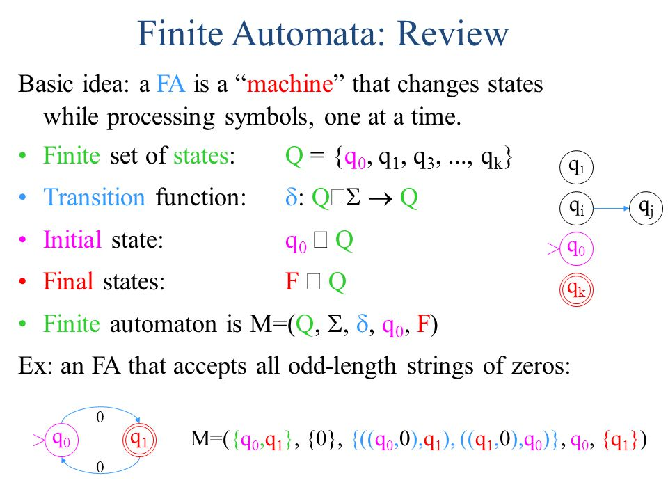 "Finite Automata: Review Basic idea: a FA is a ""machine"" that changes states while processing symbols, one at a time. Finite set of states: Q = {q 0, q"
