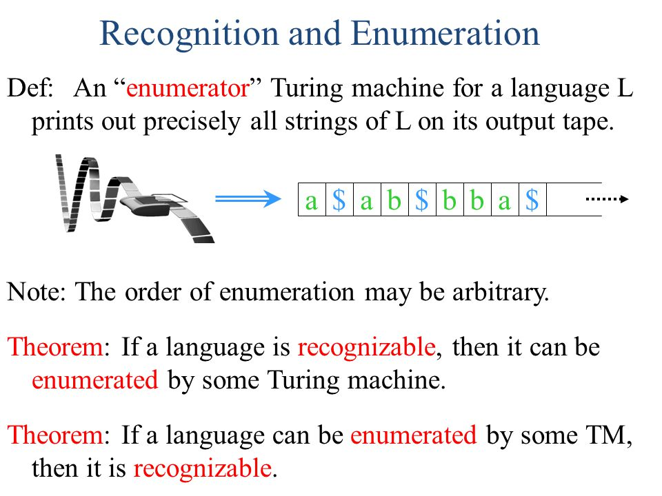 "Recognition and Enumeration Theorem: If a language is recognizable, then it can be enumerated by some Turing machine. Def: An ""enumerator"" Turing mach"