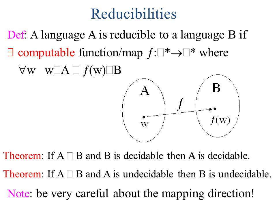 Reducibilities Def: A language A is reducible to a language B if  computable function/map ƒ:  *  * where  w  w  A  ƒ(w)  B Theorem: If A 