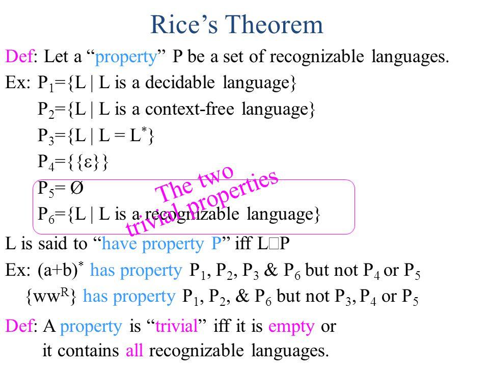 Def: Let a property P be a set of recognizable languages  Ex:P 1 ={L | L is a decidable language} P 2 ={L | L is a context-free language} P 3 ={L | L = L * } P 4 ={{  }} P 5 = Ø P 6 ={L | L is a recognizable language} L is said to have property P iff L  P Ex:(a+b) * has property P 1, P 2, P 3 & P 6 but not P 4 or P 5 {ww R } has property P 1, P 2, & P 6 but not P 3, P 4 or P 5 Def: A property is trivial iff it is empty or it contains all recognizable languages.