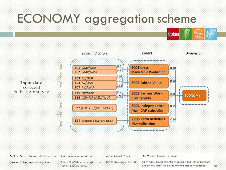 10 ECONOMY aggregation scheme Input data collected in the farm survey 23/11/2012 SOSTARE - C.