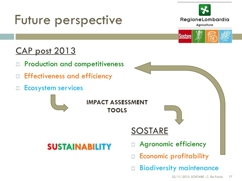 17 Future perspective SOSTARE  Agronomic efficiency  Economic profitability  Biodiversity maintenance CAP post 2013  Production and competitiveness  Effectiveness and efficiency  Ecosystem services 23/11/2012 SOSTARE - C.