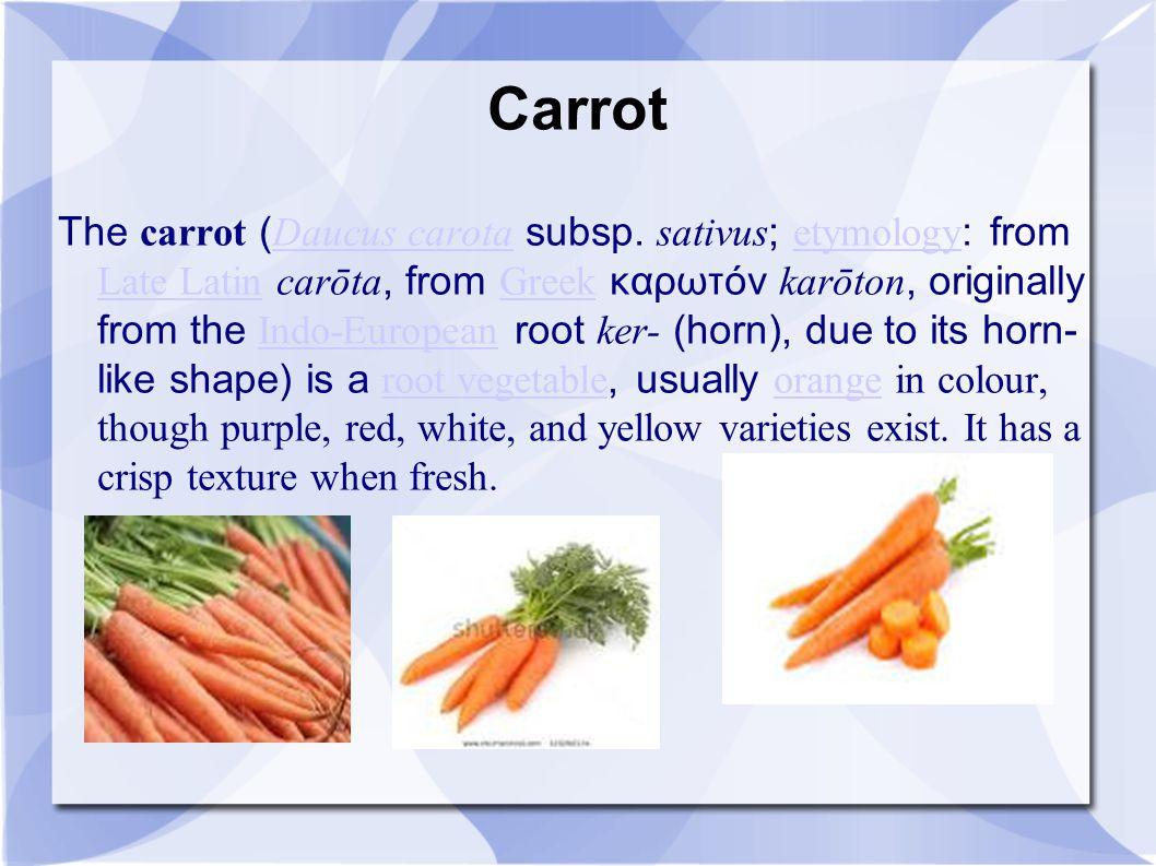 Carrot The carrot ( Daucus carota subsp. sativus ; etymology : from Late Latin carōta, from Greek καρωτόν karōton, originally from the Indo-European r