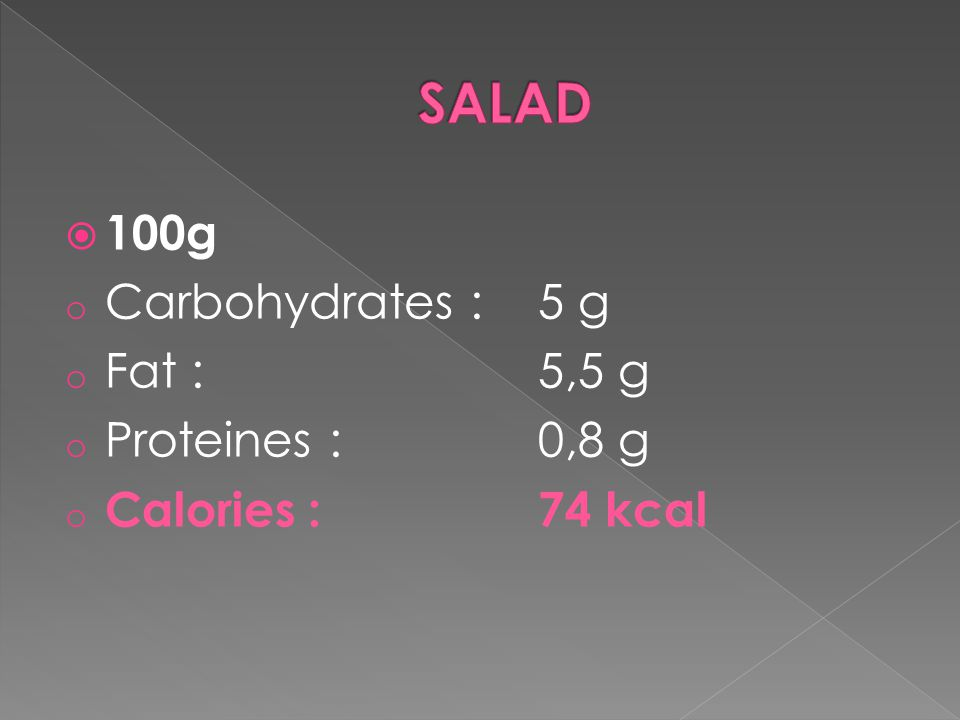 100g o Carbohydrates : 5 g o Fat : 5,5 g o Proteines : 0,8 g o Calories : 74 kcal