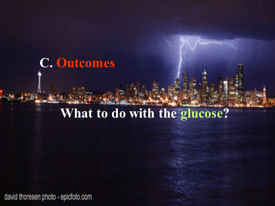 C. Outcomes What to do with the glucose?