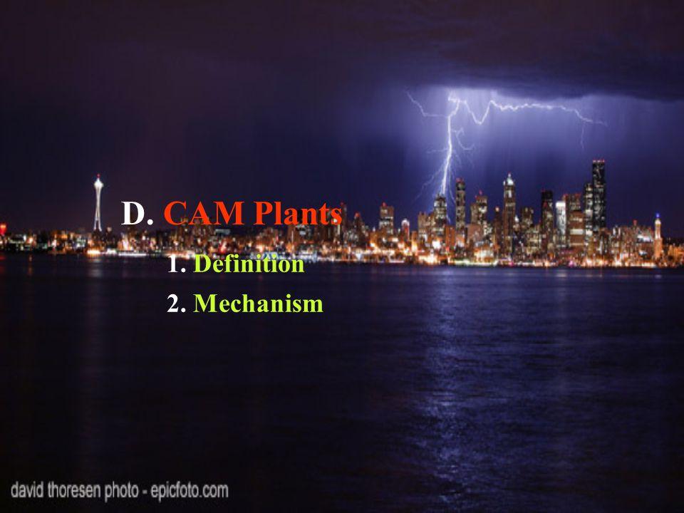 D. CAM Plants 1. Definition 2. Mechanism