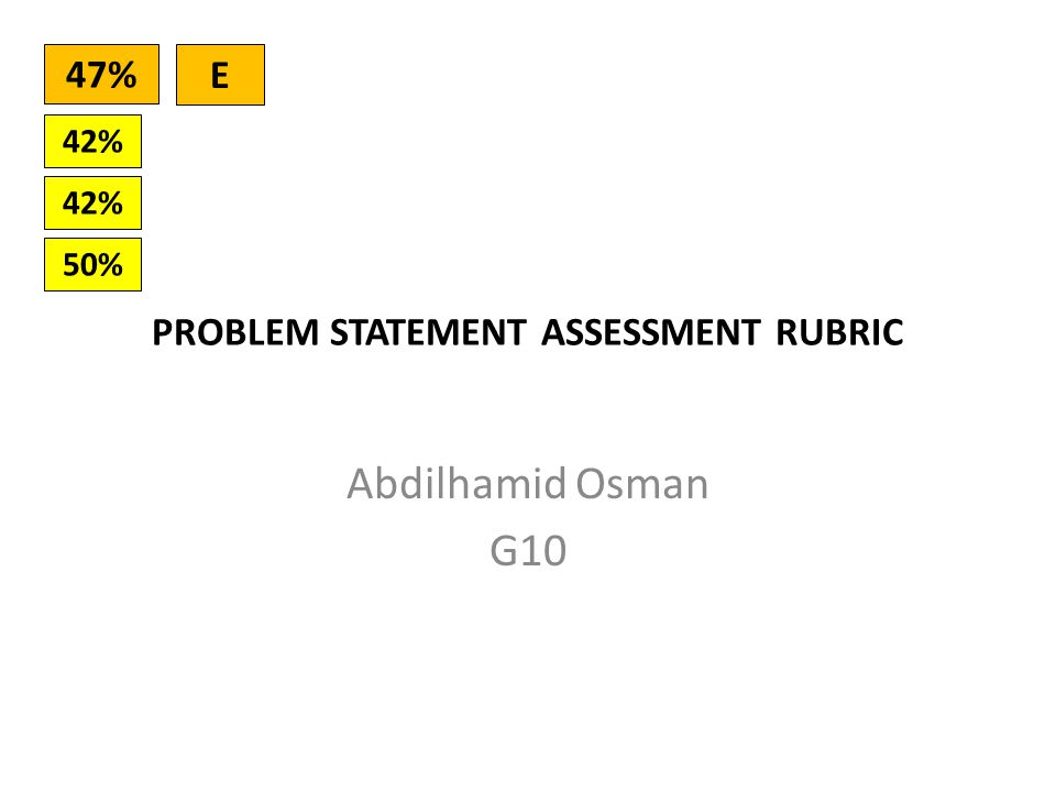 PROBLEM STATEMENT ASSESSMENT RUBRIC Abdilhamid Osman G10 42% 50% 42% 47% E