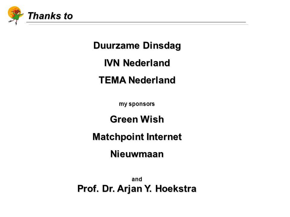 Thanks to Duurzame Dinsdag IVN Nederland TEMA Nederland my sponsors Green Wish Matchpoint Internet Nieuwmaanand Prof.