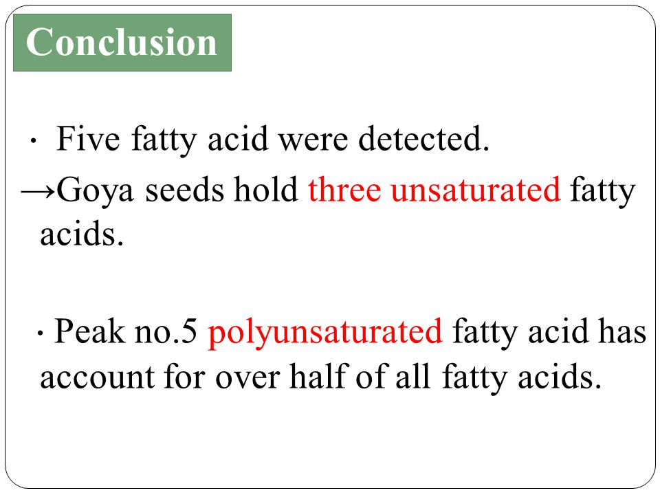 ・ Five fatty acid were detected. →Goya seeds hold three unsaturated fatty acids.