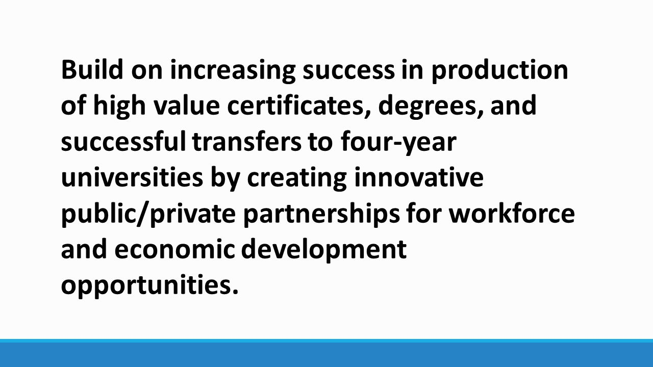 Build on increasing success in production of high value certificates, degrees, and successful transfers to four-year universities by creating innovative public/private partnerships for workforce and economic development opportunities.