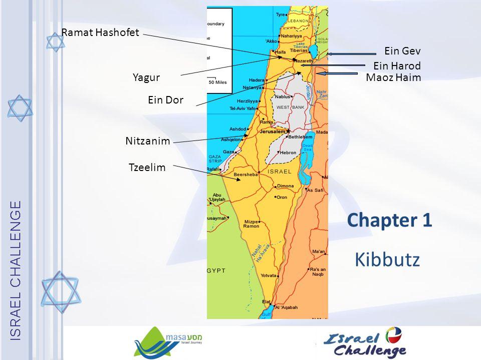 Chapter 1 Kibbutz Nitzanim Ein Gev Maoz Haim Ramat Hashofet Tzeelim Ein Dor Ein Harod Yagur