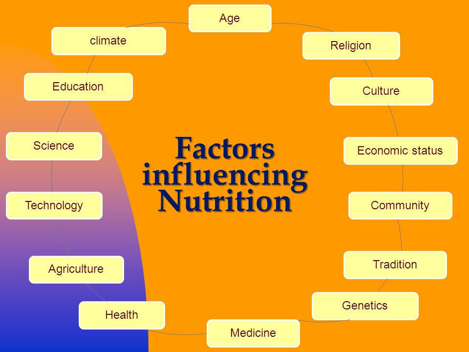 AgeReligionCultureEconomic statusCommunityTraditionGeneticsMedicineHealthAgricultureTechnologyScienceEducationclimate Factors influencing Nutrition