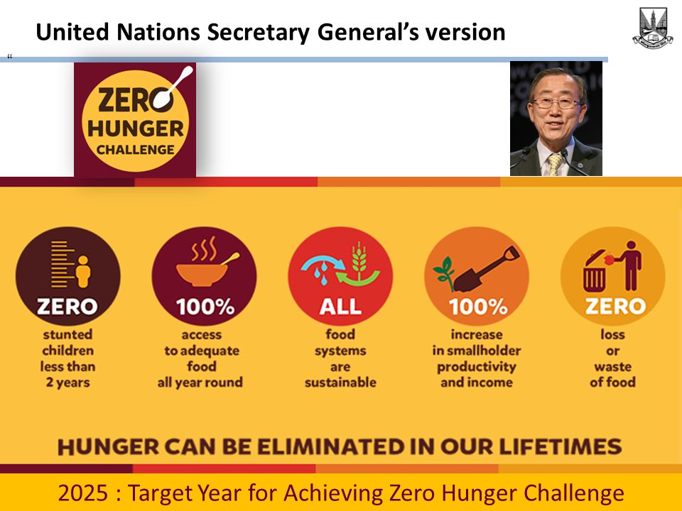 United Nations Secretary General's version 2025 : Target Year for Achieving Zero Hunger Challenge
