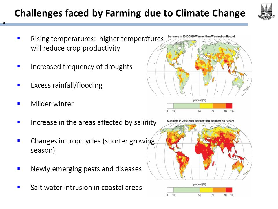 "Challenges faced by Farming due to Climate Change ""  Rising temperatures: higher temperatures will reduce crop productivity  Increased frequency of"