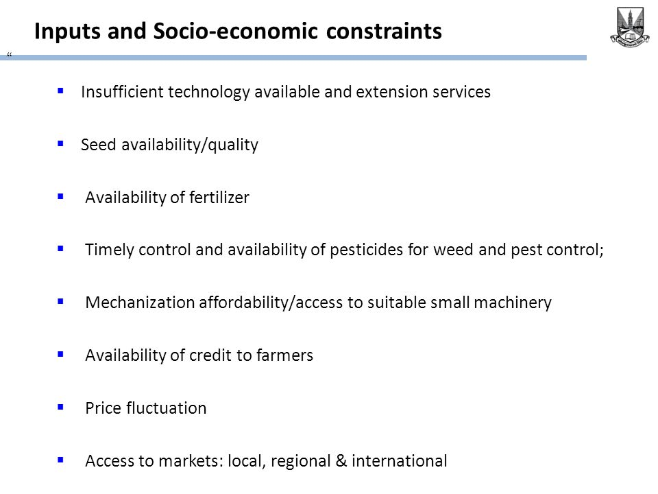 Inputs and Socio-economic constraints  Insufficient technology available and extension services  Seed availability/quality  Availability of fertilizer  Timely control and availability of pesticides for weed and pest control;  Mechanization affordability/access to suitable small machinery  Availability of credit to farmers  Price fluctuation  Access to markets: local, regional & international