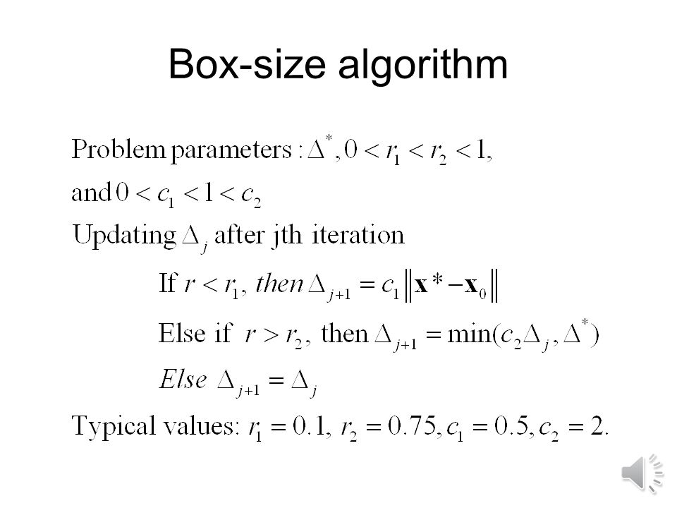 Box-size algorithm