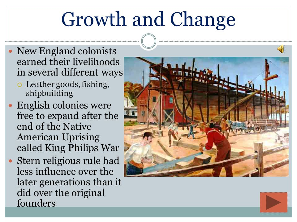 Establishment Chartered by the Puritans  Wanted to reform the Church of England  Persecuted by King Charles I in 1620s  Left England in 1630  900 puritans on 11 ships  Known as the Massachusetts Bay Company  Led by John Winthrop