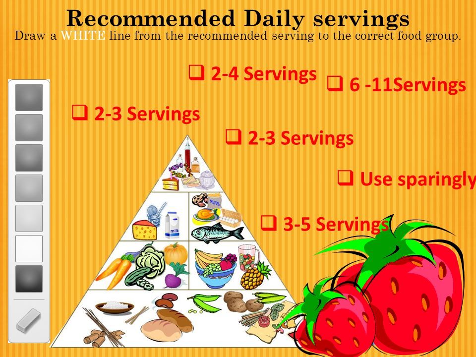 Recommended Daily servings Draw a WHITE line from the recommended serving to the correct food group.  2-3 Servings  6 -11Servings  2-4 Servings  2