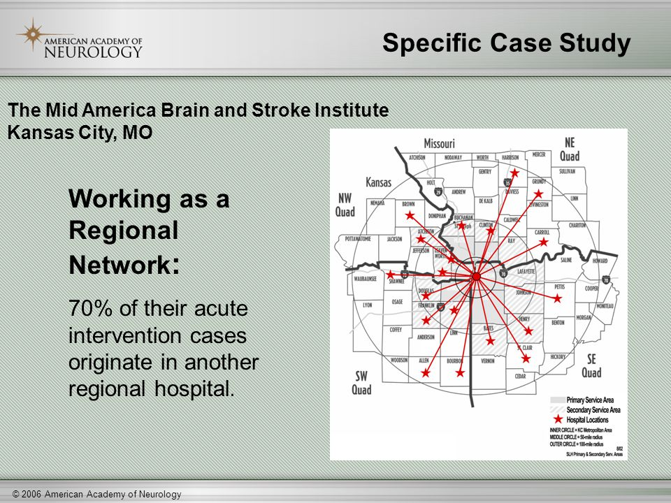 © 2006 American Academy of Neurology Specific Case Study Working as a Regional Network : 70% of their acute intervention cases originate in another re
