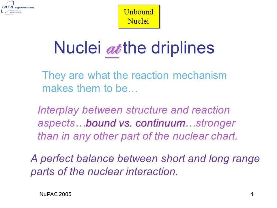 NuPAC 20054 at Nuclei at the driplines They are what the reaction mechanism makes them to be… Interplay between structure and reaction bound vs.