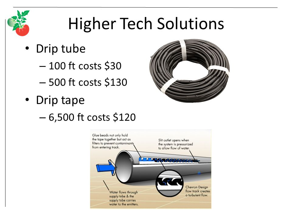 Higher Tech Solutions Drip tube – 100 ft costs $30 – 500 ft costs $130 Drip tape – 6,500 ft costs $120