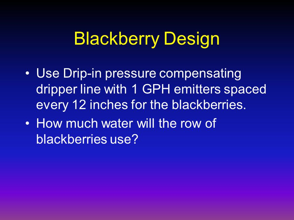 Blackberry Design Use Drip-in pressure compensating dripper line with 1 GPH emitters spaced every 12 inches for the blackberries.