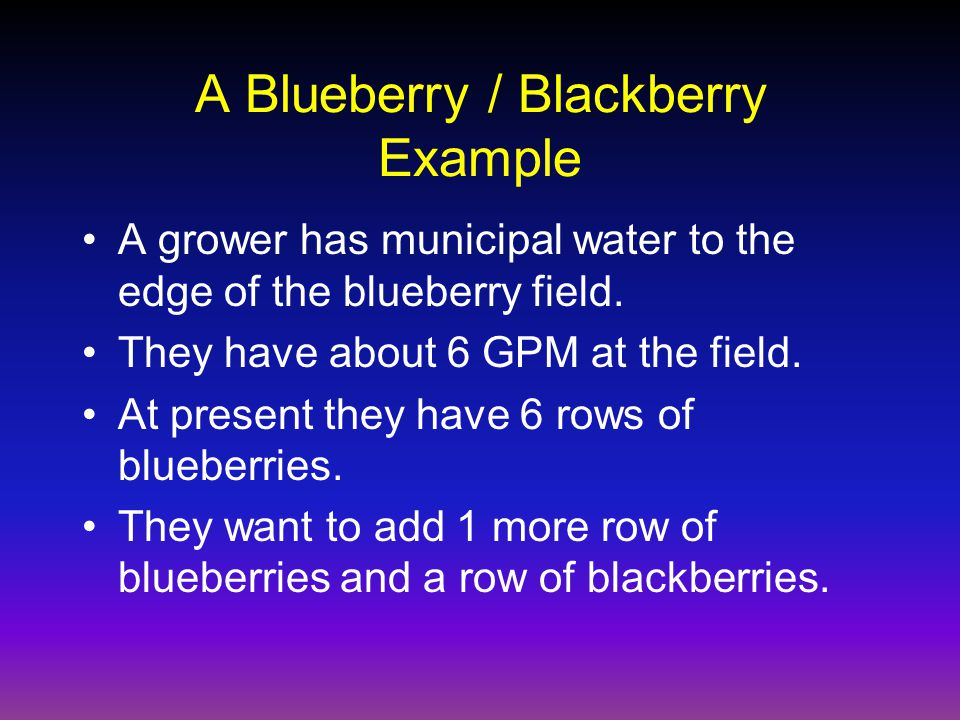Blueberry Watering Area = ¶r 2 –Area = 3.14(1.5 2 ) –Area = 7.1 ft 1.5 inches = 0.125 ft 7.1 ft 2 x 0.125 ft = 0.9 ft 3 0.9 ft 3 x 7.481 gallons/ft 3 = 6.6 gallons