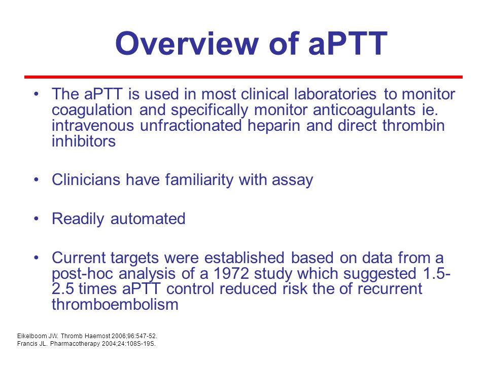 Overview of aPTT The aPTT is used in most clinical laboratories to monitor coagulation and specifically monitor anticoagulants ie. intravenous unfract