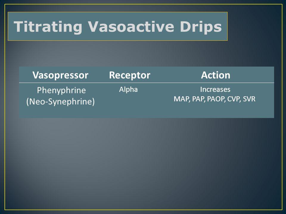 Vasopressor Receptor Action Phenyphrine (Neo-Synephrine) Alpha Increases MAP, PAP, PAOP, CVP, SVR Titrating Vasoactive Drips