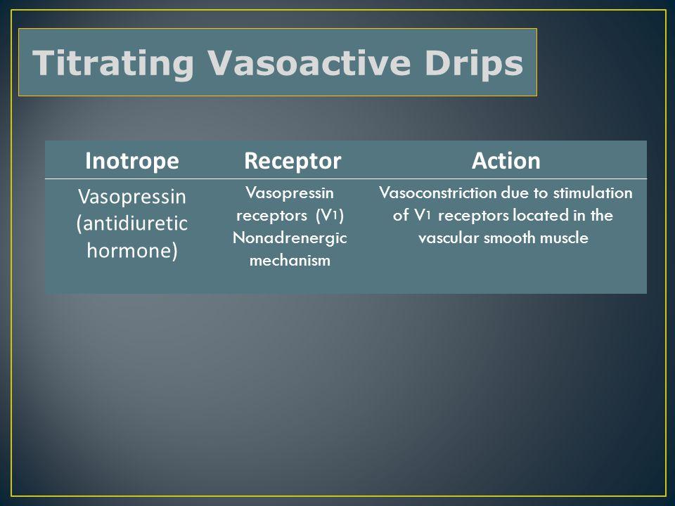 Inotrope Receptor Action Vasopressin (antidiuretic hormone) Vasopressin receptors (V 1 ) Nonadrenergic mechanism Vasoconstriction due to stimulation of V 1 receptors located in the vascular smooth muscle Titrating Vasoactive Drips