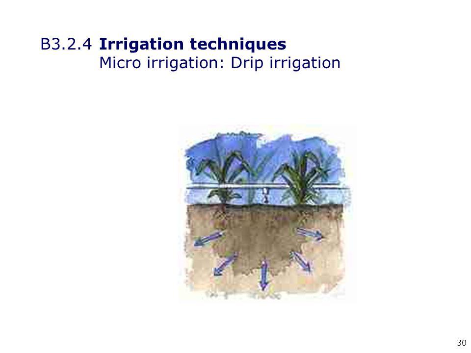 30 B3.2.4Irrigation techniques Micro irrigation: Drip irrigation