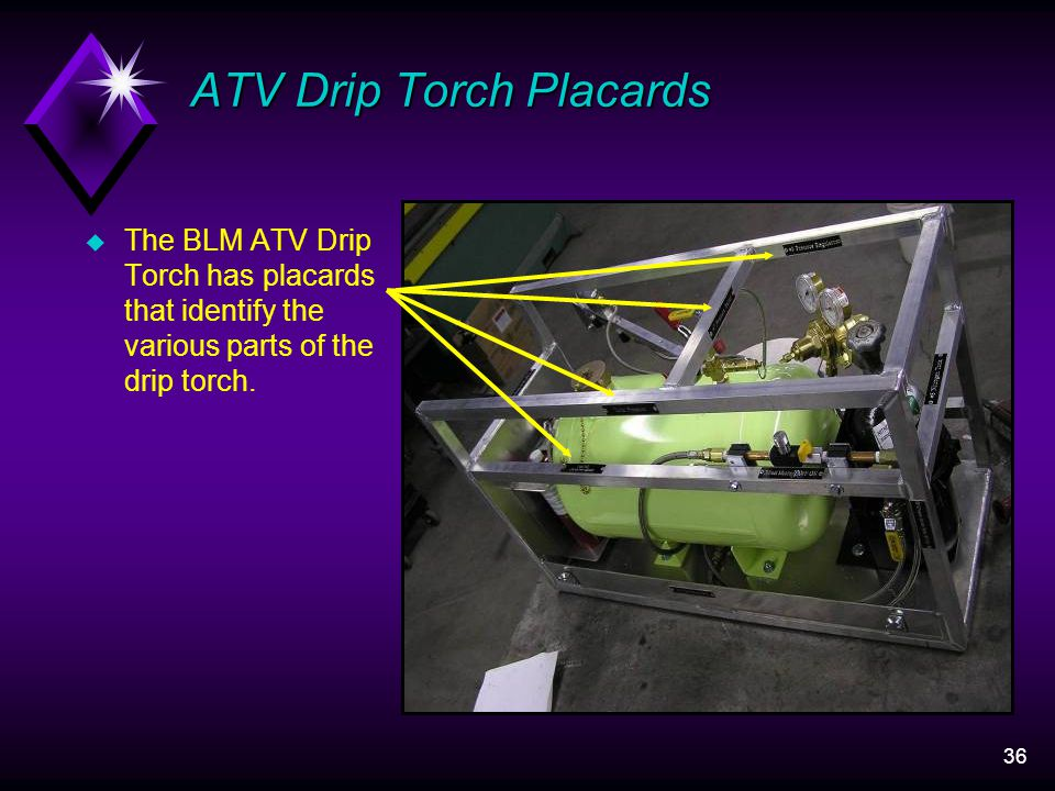 36 ATV Drip Torch Placards u The BLM ATV Drip Torch has placards that identify the various parts of the drip torch.