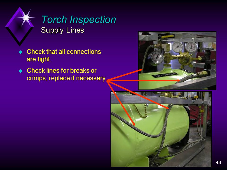 43 Torch Inspection Supply Lines u Check that all connections are tight.