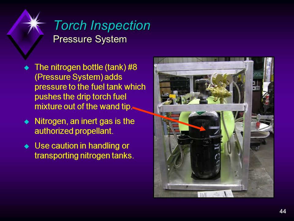 44 Torch Inspection Pressure System u The nitrogen bottle (tank) #8 (Pressure System) adds pressure to the fuel tank which pushes the drip torch fuel mixture out of the wand tip.