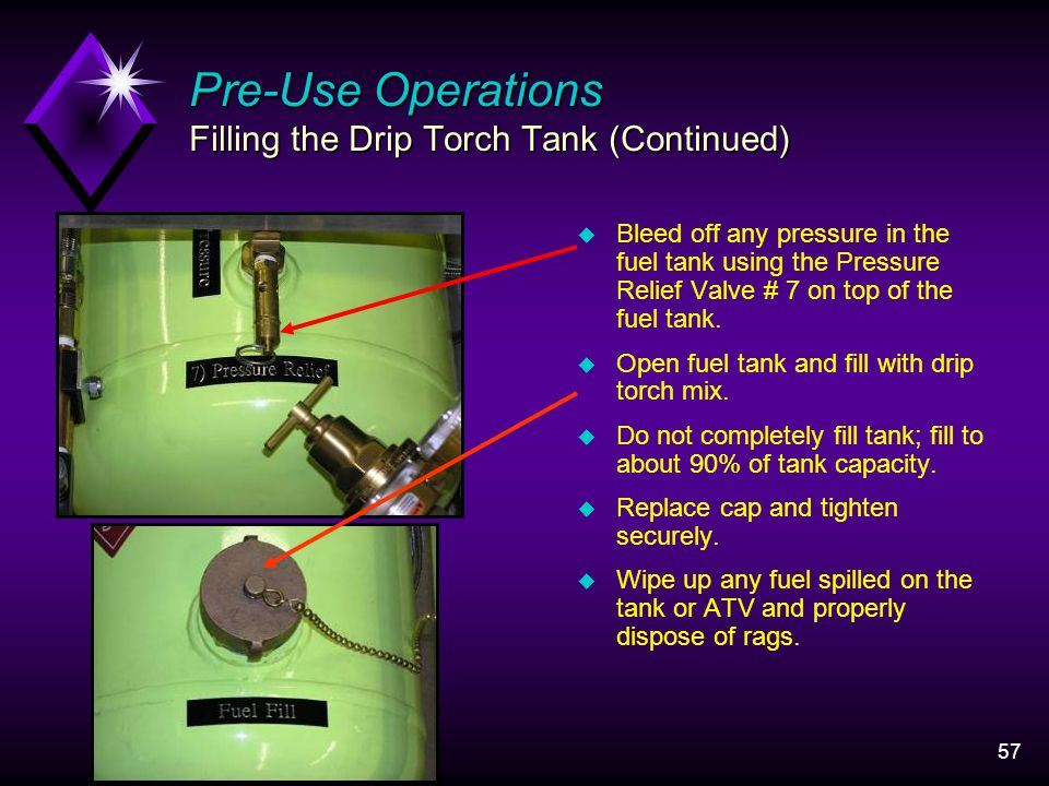 57 u Bleed off any pressure in the fuel tank using the Pressure Relief Valve # 7 on top of the fuel tank.