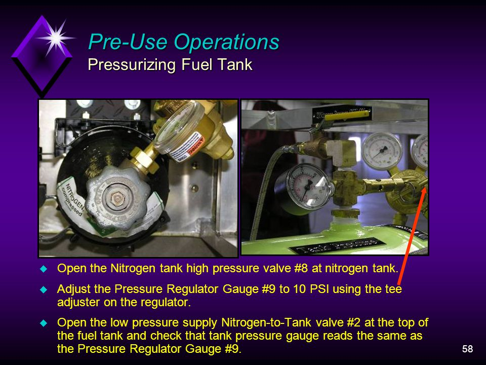 58 Pre-Use Operations Pressurizing Fuel Tank u Open the Nitrogen tank high pressure valve #8 at nitrogen tank.
