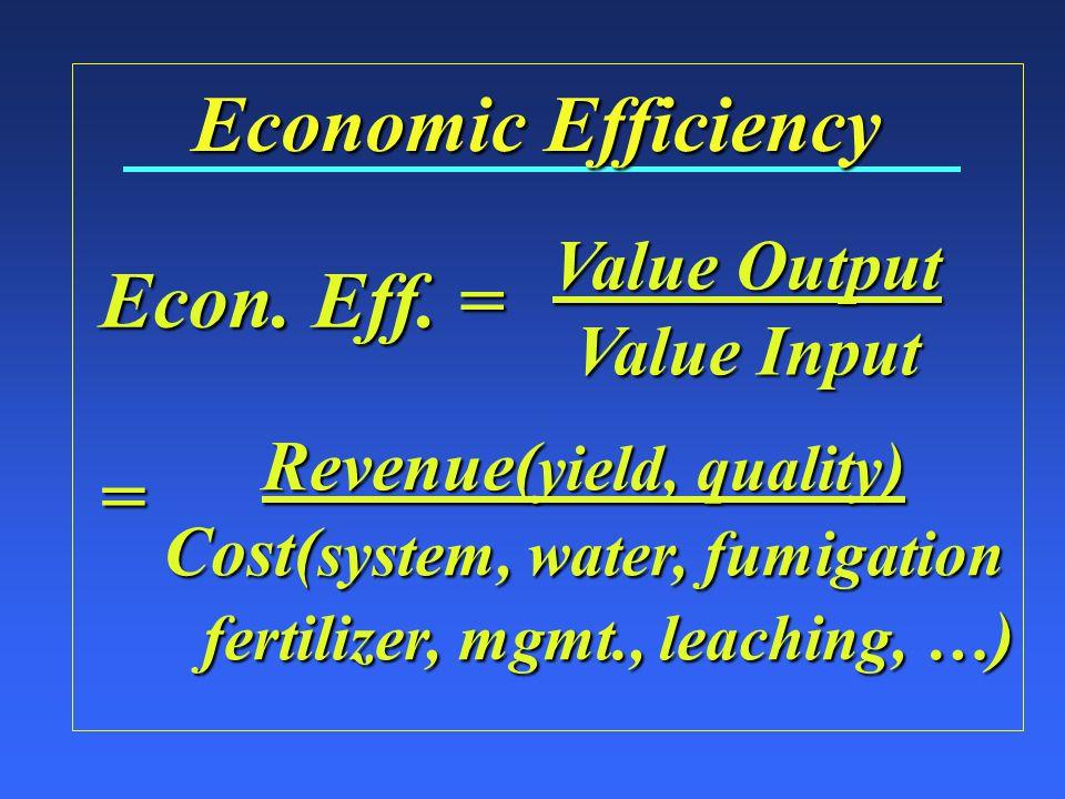 Economic Efficiency Economic = Value Output Value Input Value Input HighestValuedOutput Bundle of Resources Labor Water Machinery Fertilizer Land