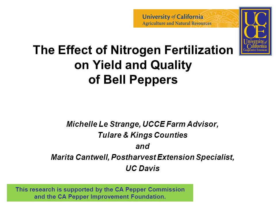 The Effect of Nitrogen Fertilization on Yield and Quality of Bell Peppers Michelle Le Strange, UCCE Farm Advisor, Tulare & Kings Counties and Marita Cantwell, Postharvest Extension Specialist, UC Davis This research is supported by the CA Pepper Commission and the CA Pepper Improvement Foundation.