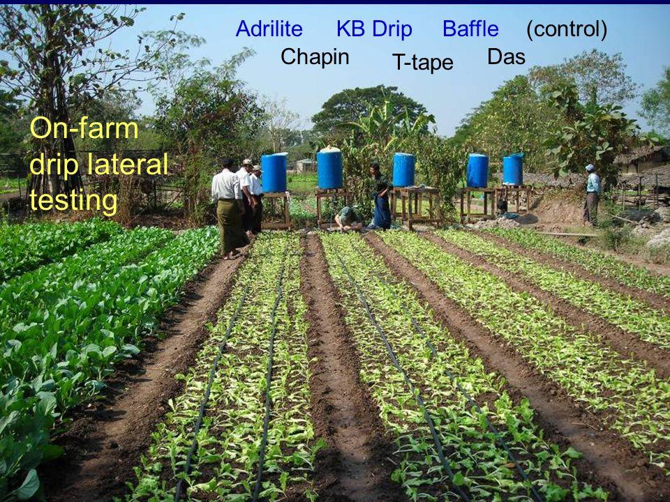 Adrilite Chapin KB Drip T-tape Das (control)Baffle On-farm drip lateral testing