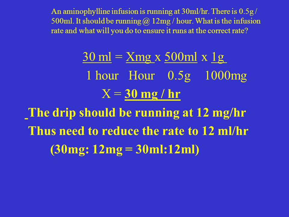 An aminophylline infusion is running at 30ml/hr. There is 0.5g / 500ml. It should be running @ 12mg / hour. What is the infusion rate and what will yo