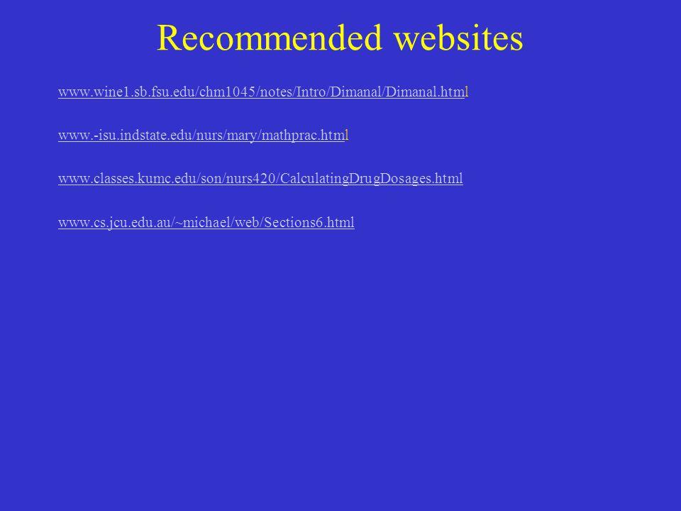 Recommended websites www.wine1.sb.fsu.edu/chm1045/notes/Intro/Dimanal/Dimanal.htmwww.wine1.sb.fsu.edu/chm1045/notes/Intro/Dimanal/Dimanal.html www.-is