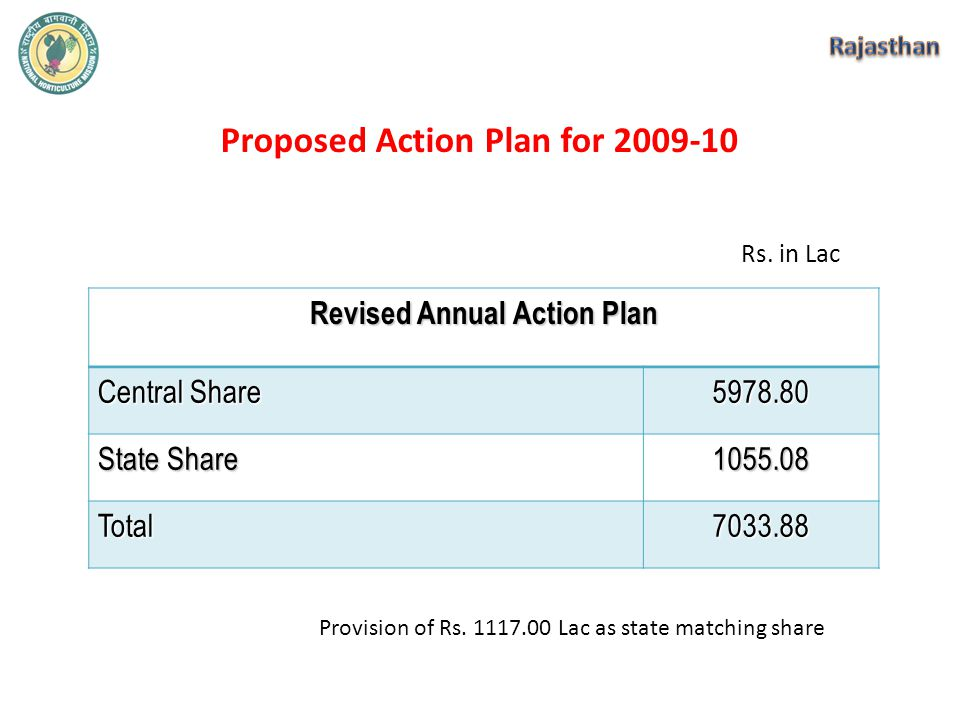 Proposed Action Plan for 2009-10 Revised Annual Action Plan Central Share 5978.80 State Share 1055.08 Total7033.88 Rs.