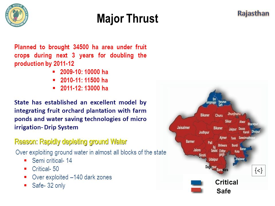 Reason: Rapidly depleting ground Water Safe Critical {<} Over exploiting ground water in almost all blocks of the state  Semi critical- 14  Critical- 50  Over exploited –140 dark zones  Safe- 32 only State has established an excellent model by integrating fruit orchard plantation with farm ponds and water saving technologies of micro irrigation- Drip System Planned to brought 34500 ha area under fruit crops during next 3 years for doubling the production by 2011-12  2009-10: 10000 ha  2010-11: 11500 ha  2011-12: 13000 ha Major Thrust