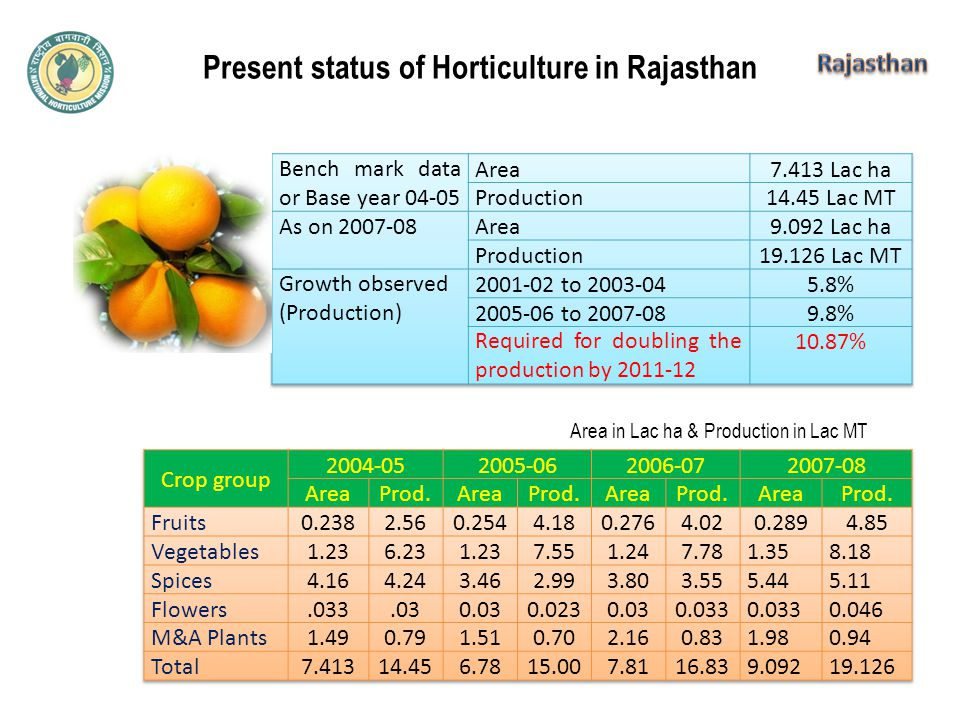 Present status of Horticulture in Rajasthan Area in Lac ha & Production in Lac MT