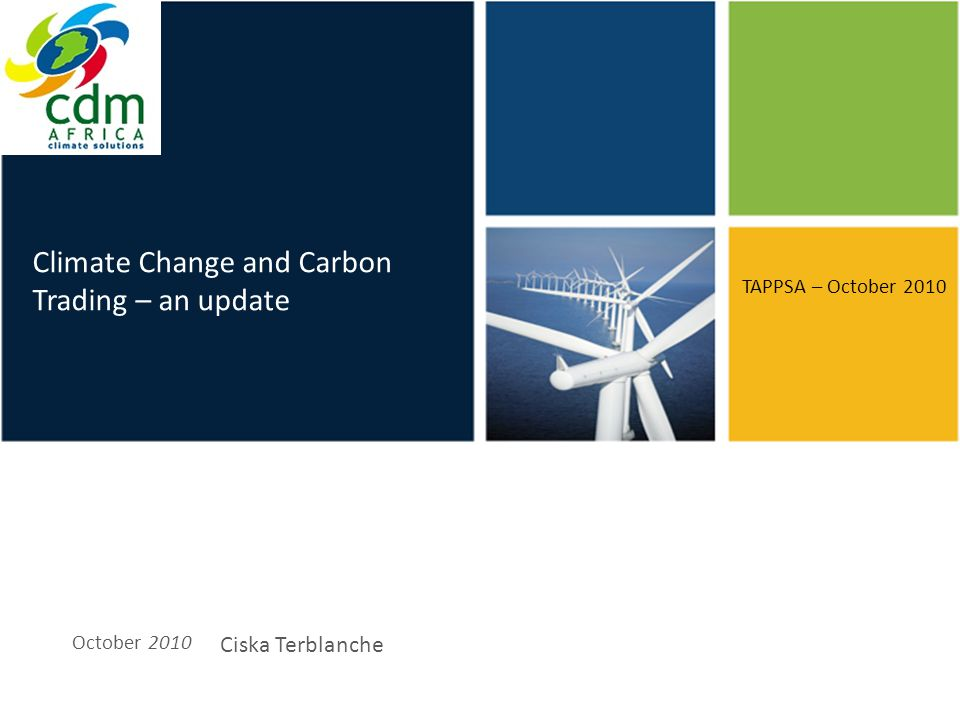 Click to edit Master title style Climate Change and the Carbon Market October 2010 Ciska Terblanche TAPPSA 2010 Conference Durban, South Africa TAPPSA – October 2010 Climate Change and Carbon Trading – an update