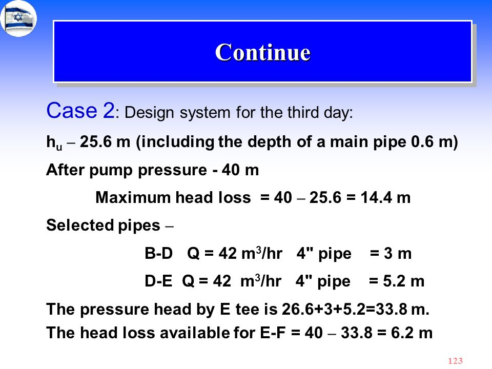 123 ContinueContinue Case 2 : Design system for the third day: h u – 25.6 m (including the depth of a main pipe 0.6 m) After pump pressure - 40 m Maxi