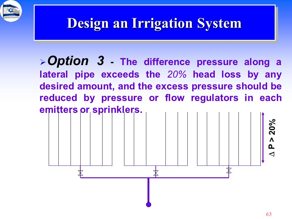 63 Design an Irrigation System  Option 3 - The difference pressure along a lateral pipe exceeds the 20% head loss by any desired amount, and the exce
