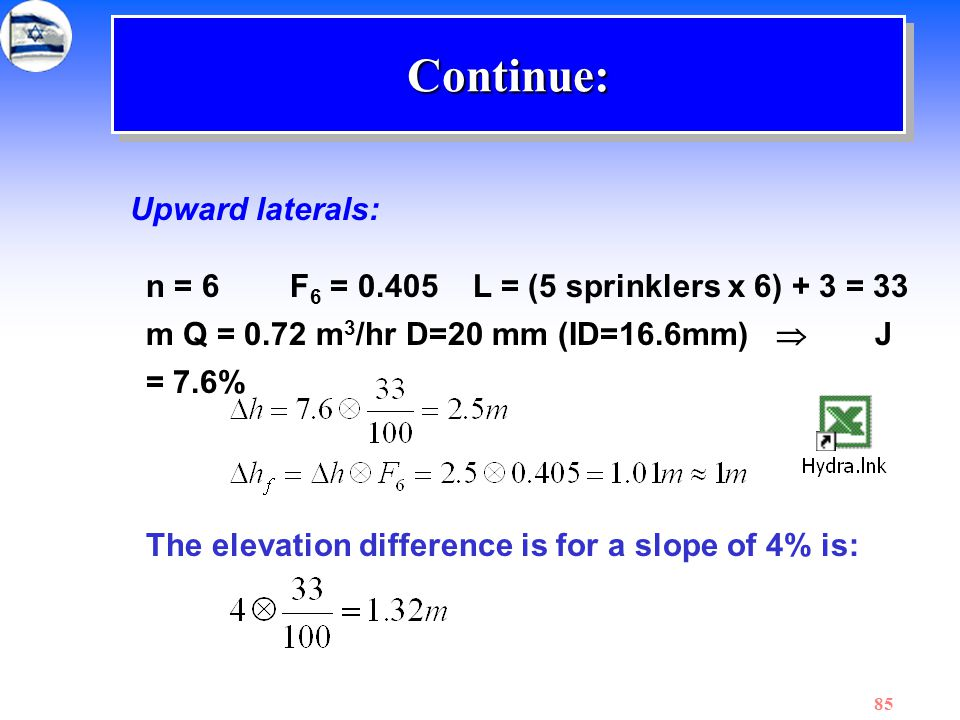 85 Upward laterals: n = 6 F 6 = 0.405 L = (5 sprinklers x 6) + 3 = 33 m Q = 0.72 m 3 /hr D=20 mm (ID=16.6mm)  J = 7.6% The elevation difference is fo