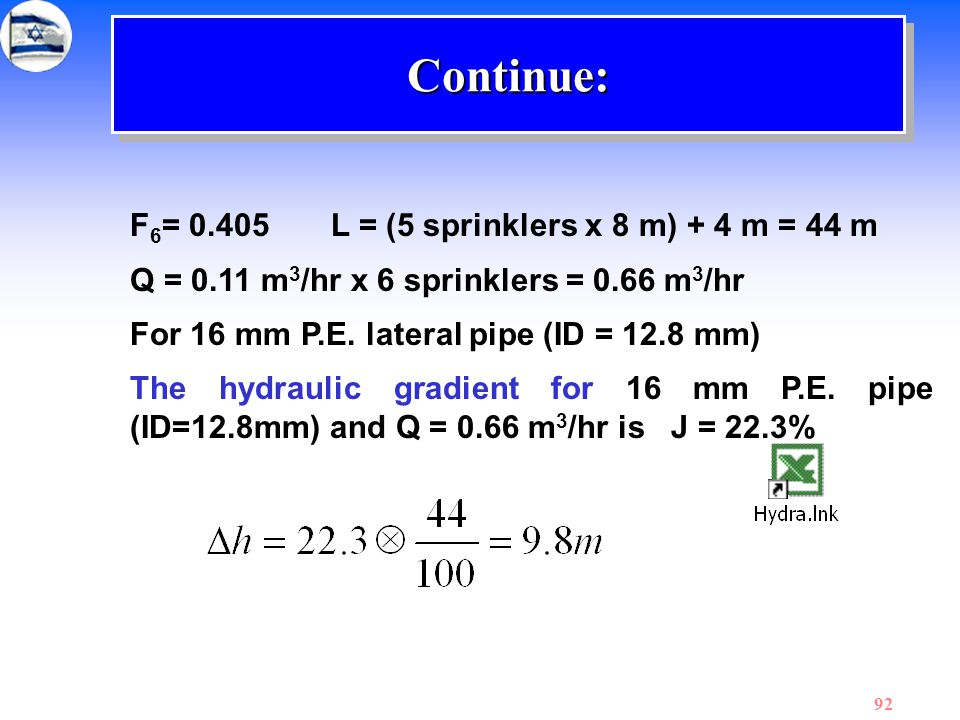 92 F 6 = 0.405 L = (5 sprinklers x 8 m) + 4 m = 44 m Q = 0.11 m 3 /hr x 6 sprinklers = 0.66 m 3 /hr For 16 mm P.E. lateral pipe (ID = 12.8 mm) The hyd